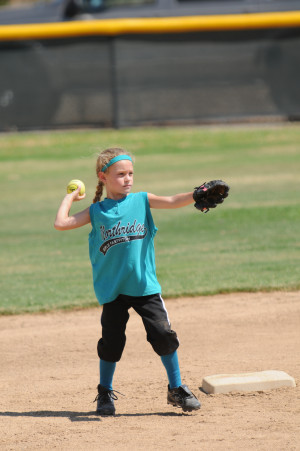 Lexy throwing a ball in from Shortstop (Fall 2012)