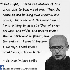 St. Maximilian Kolbe (Being Presented With The White Crown Of Purity ...