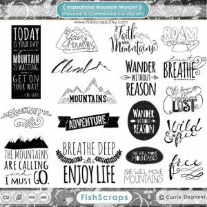 Mountain Word Art & Inspirational Quote Clip Art, Scrapbooking Titles ...