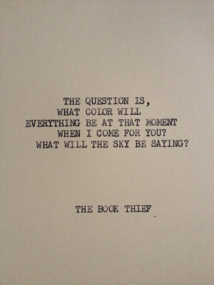 THE BOOK THIEF: Typewriter quote on 5x7 cardstock