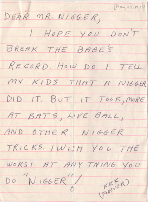 Jackie Robinson Death Threat Letters These are just two pieces of