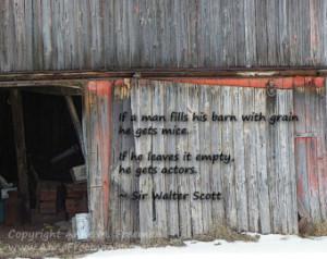 Quote - Rustic Fine Art Wal l Decor - Sir Walter Scott - Gray Barn ...