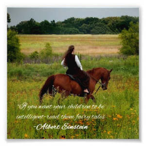 Girl Riding Horse Fairy Tale Einstien Quote Print Photographic Print
