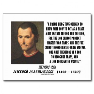 Machiavelli Prince Imitate Fox and the Lion Quote Postcards
