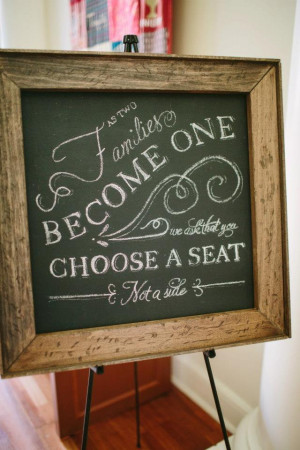 Pick any seat, not a side: sign for ceremony (help me find it!)