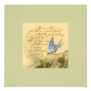 Bluebird on Branch Victor Hugo Quote Invite