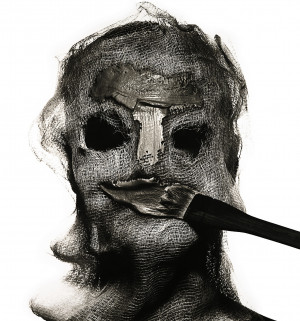 "Beauty Treatment with Gauze Mask,"" by Irving Penn, 1997."