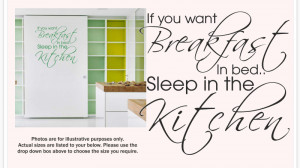 Details about BREAKFAST IN BED SLEEP IN THE KITCHEN - Wall quote ...