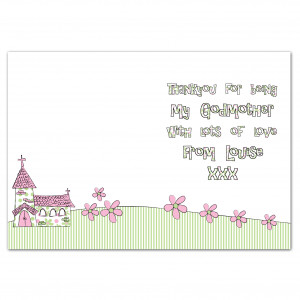 Godmother Card Pink Whimsical Church Personalised Cards Personalise