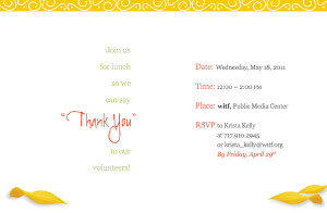 ... could be mailed to volunteers inviting them to a thank you luncheon