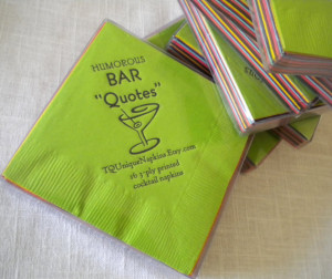Bar Napkins Funny Cocktail Quotes Boxed set of 16 printed napkins NEW