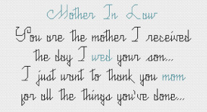 Love My Mother In Law Poems Cross stitch pattern - mother