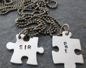 sir and pet puzzle piece necklace s et bdsm jewelry fetish dom sub sir ...