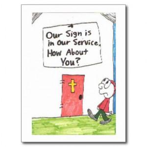 Postcard of animated funny church sayings