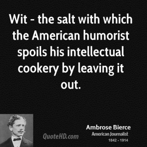 ... American humorist spoils his intellectual cookery by leaving it out