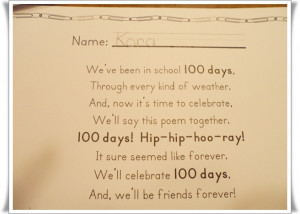 ... you? Did your child or children celebrate the 100th day of school