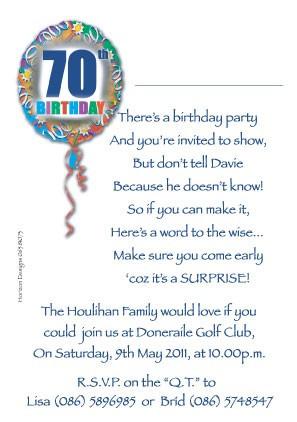 70th birthday invites