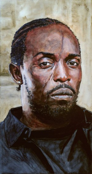 ... original painting of Michael K. Williams as Omar Little from The Wire