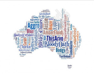 Australian Sayings Map Funny Slan Phrases Unique Unusual Gift For