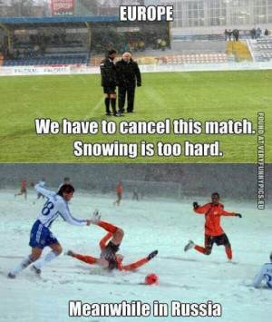 funny picture europe vs russia football snow