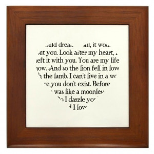 ... Gifts > Bella Living Room > Twilight Romantic Quotes Heart Framed Tile