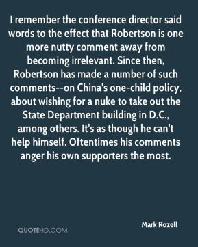 Mark Rozell - I remember the conference director said words to the ...