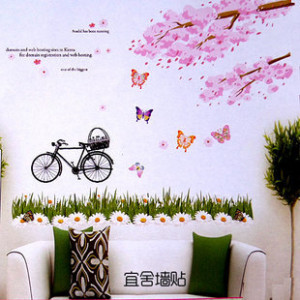 ... background romantic cherry tree bicycle wall quotes(China (Mainland