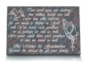 Grandmother Memorial Plaque