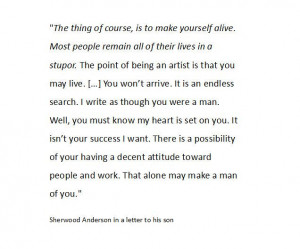 Sherwood Anderson about being an artist and becoming a man (in a ...