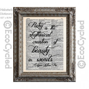 Edgar Allan Poe Quote Poetry Beauty in Words by on Vintage Upcycled ...