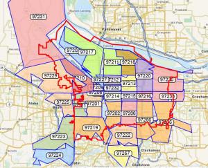 portland metro zip code map