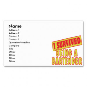 SURVIVED BEING A BARTENDER BUSINESS CARD TEMPLATE
