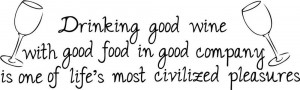 Drinking Good Wine Food Life Decor vinyl wall decal quote sticker ...