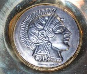 Lalaounis Greek 900 Silver Brass Greek Warrior Bowl