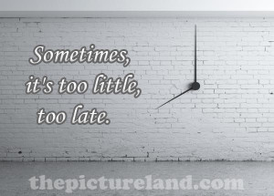 Sometimes, It's Too Little, Too Late Images