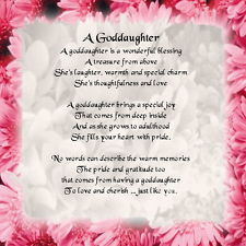 Personalised Coaster - Goddaughter Poem - Pink Floral Edge + FREE GIFT ...