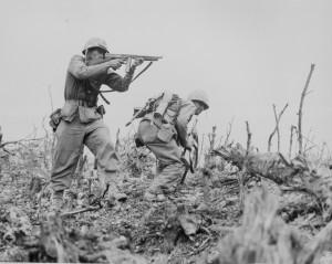 World War Two 2 American Soldiers In Battle