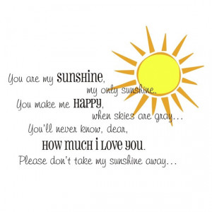 You are my sunshine quote PLUS sunshine graphic vinyl wall decal (k ...