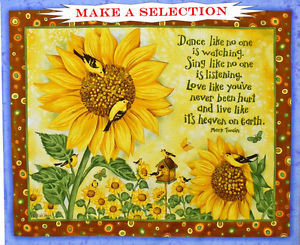 SUNFLOWERS-BLUEBERRIES-SAYINGS-BEEHIVE-BIRDS-FABRIC-PANELS-MAKE-A ...