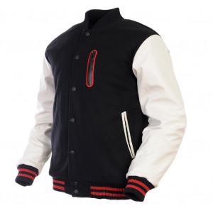 ... & White Red Zip Varsity Wool & Synthetic Leather Letterman Jacket
