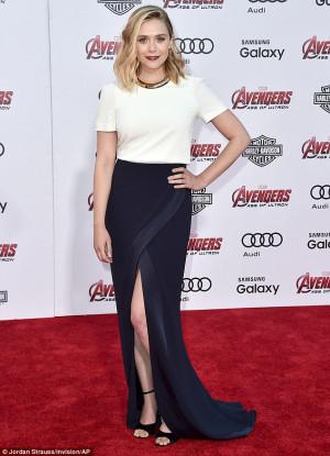 Elizabeth Olsen looks sophisticated in thigh-slit dress as she hits ...