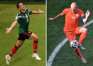 Javier 'Chicharito' Hernandez (L) will battle Arjen Robben for goal ...