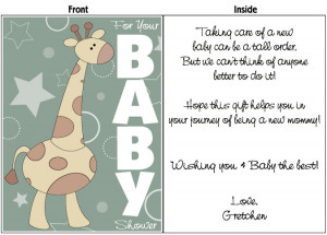Baby Shower Card Sayings: The Color of The Card