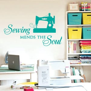 sewing mends the soul saying vinyl wall decals quote art craft wall ...