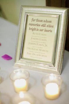 DIY memorial candles/sign - We had this set up by our guestbook to ...