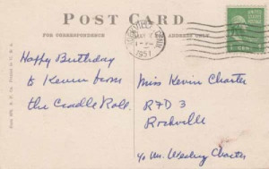 This item is a Vintage c1951 Birthday Postcard reading 'First Birthday ...
