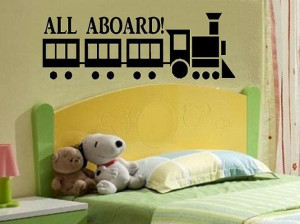 vinyl wall decal quote All aboard with train on Etsy, $10.00