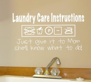 Wall Decal - Laundry Care Instructions - Wall vinyl sayings - Laundry ...