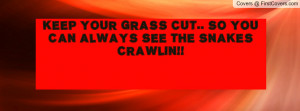 keep your grass cut.. so you can always see the snakes crawlin ...