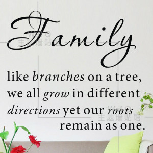 Do it ] Family like branches on a tree Quote wall stickers Fashion ...
